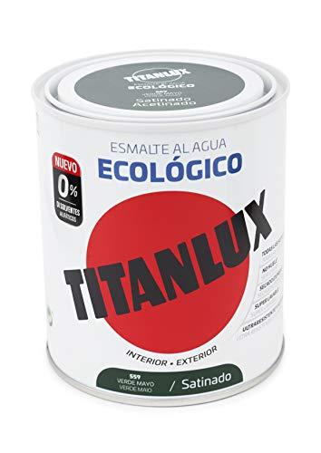 Titanlux - Esmalte agua ecologico santinado, Verde, 750ML (ref. 01T055934)