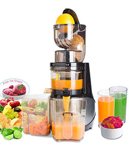 Masticating Juicer,Whole Slow Juicer Extractor by Vitalisci,Cold Press Juicer Machine,Anti-Oxidation for Fruit and Vegetable,Easy to Clean and BPA Free,(300W AC Motor/3.15' Wide Chute/40 RPMs)-Silver