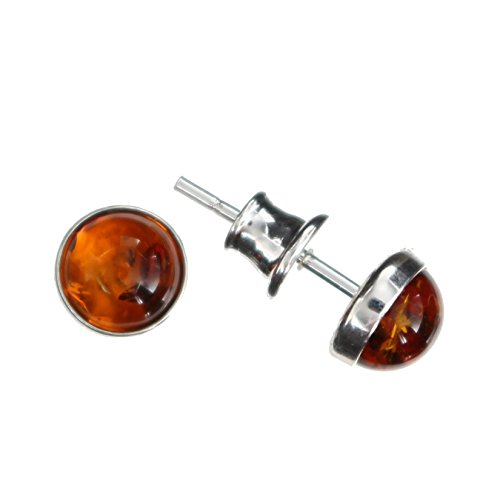 Ohrringe mit Bernstein von Artisana-Schmuck, kleine runde Ohrstecker Fassung 925/000 Sterling Silber