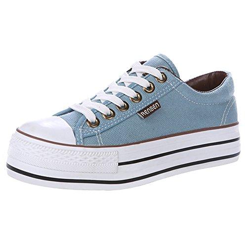 Renben Chicas Mujer Clásico Plataforma Lona Zapatillas Moda Cordón Espadrilla Zapatos Azul 3196 EU35.5