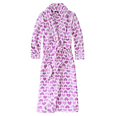 Noble Mount Plush Robes for Women, Fleece Robes - Sweethearts - White/Purple - L by