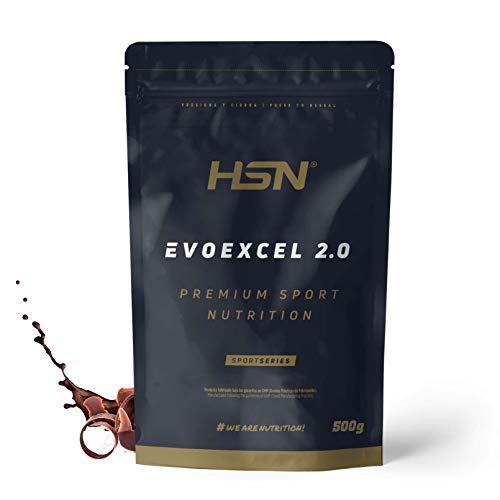 Whey Protein Isolate + Concentrate de HSN Evoexcel 2.0 | Batido de Proteínas con Enzimas Digestivas + Probióticos + Calostro | Vegetariano, Sabor Chocolate, 500g