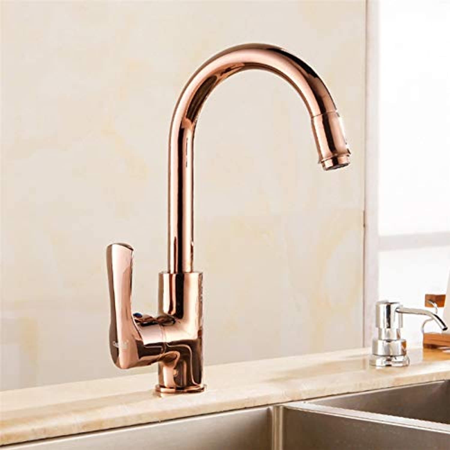 Decorry Kitchen Faucets pink gold golden Chrome Brass Swivel Kitchen Tap Faucets Hot Cold Wash Basin Mixer Water Tap Torneira Cozinha,pink gold