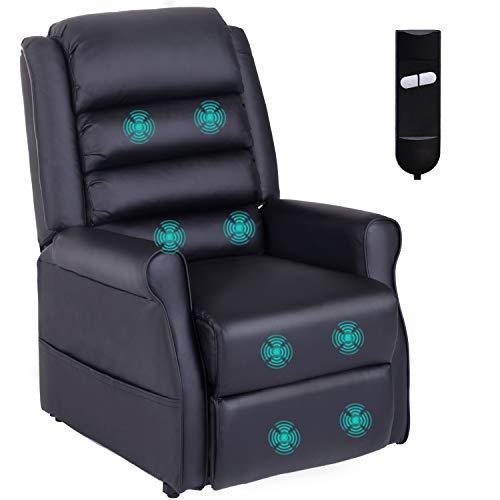 HOMCOM Massagesessel Aufstehsessel für Senior Elektrischer Relaxsessel Fernsehsessel mit Wärmefunktion Liegefunktion Aufstehhilfe PU Schwarz 88 x 83 x 110 cm
