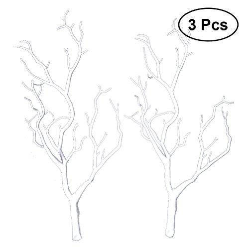 CLISPEED 3pcs Rami di Albero essiccati Artificiali Rami di plastica Falsi Similart di Piante Reali corni di Antlers corni a Forma di Ramo per la Decorazione (Bianco)