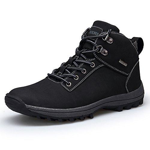 TSIODFO Men mid Hiking Shoes Winter Ourdoor All Weather Waterproof Trekking Fashion Casual Ankle Trekking Walking Boots Black Size 8