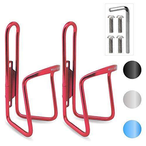 HiLo sports 2er Set Fahrrad Flaschenhalter | 4 Schrauben + Werkzeug | 4 Farben (rot)