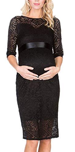 Vrouwen Moederschap Jurk Elegante Vintage Glamoureuze Kant Eenvoudige Moederschap Jurk Feestjurk 3/4 Mouw Ronde hals Mode Feestelijke Avondjurken Zwangerschap Jurk