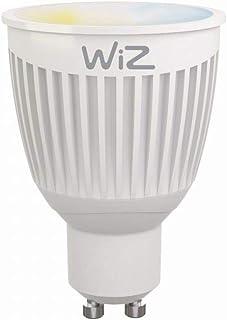 2-Pack bombillas LED WiZ inteligente con conexión WiFi, luz blanca, GU10. Regulable, 64.000 tonos de blanco. Funciona con Amazon Alexa y Google Home.