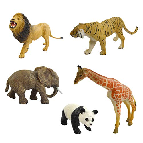 Toddmomy 5 Unids Bosque Animal Estatuilla Zoológico Estatua de Animal Simulación Imitación de Criaturas del Bosque Modelo Juguete Foto Prop Escritorio Adorno para Niños Niños