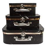 Emartbuy Set von 3 Starre Luxus-Präsentation, Koffer-Geschenk-Aufbewahrungsbox, Schwarzer Marmor, Weißer Innenraum mit Metallgriff und Schließe