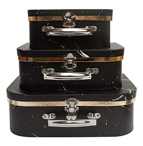 Emartbuy Set of 3 Rigid Luxury Presentation, Suitcase Gift Storage Box, Black Marble Print, White Interior with Metal Handle and Clasp