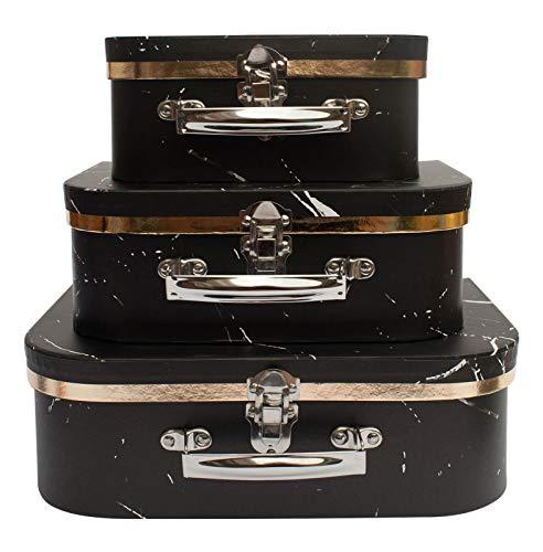 Emartbuy Set von 3 Starre Koffer-Geschenk-Aufbewahrungsbox, Schwarzer Marmor mit Griff und Schließe