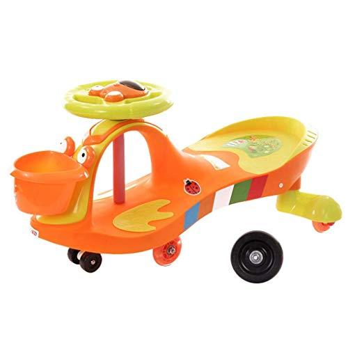 CAIMEI Coche giratorio para niños, para niños, divertido regalo para niños, volante de música, uso al aire libre (color: naranja), naranja