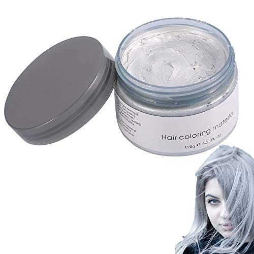 Filfeel Haarfarbe 120 ML Männer Frauen Einweg Haarfärbemittel Schlamm Friseur Creme Styling Wachs(Grau)