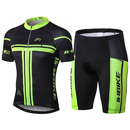 INBIKE Radtrikot Set Herren Fahrrad Trikot Kurzarm Fahrradbekleidung Radhose mit 3D Sitzpolster für Radfahren MTB Jogging,L