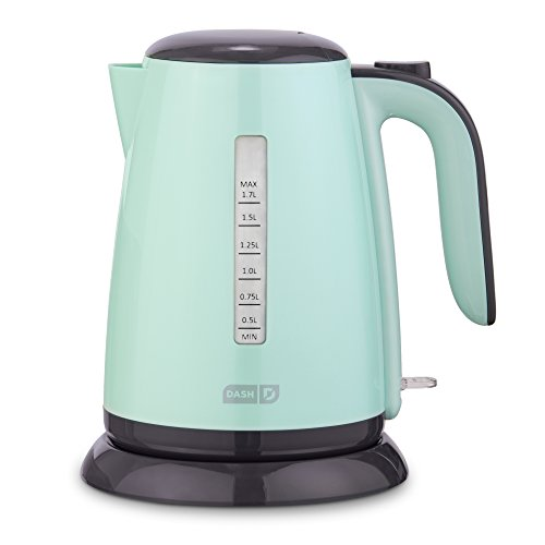 Dash DEZK003AQ Easy Electric Kettle + Water Heater with Rapid Boil, Cool Touch Handle, Cordless Carafe + Auto Shut off for Coffee, Tea, Espresso & More, 57 oz.   1.7L, Aqua
