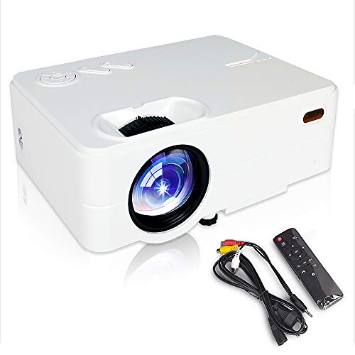 Mini Projector Portable, Movie Projector, Smartphone Video Projector 1080P,55,000 Hours Led Projector Compatible with Laptop, HDMI, VGA, USB, DVD, PS4, SD Card