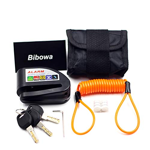 Bibowa Disc Brake Lock with Alarm - Anti -Theft Disc Lock Motorcycle Alarm with 110dB Alarm Sound 5ft Reminder Cable and Pouch Wheel Security Lock for Motorcycles Scooters Bikes