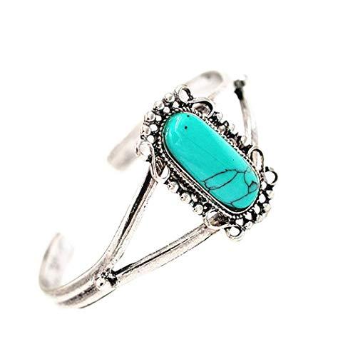 Cafurty Bella Bangle Adjustable Vintage Silver Plated Turquoise Alloy Bracelet For Women