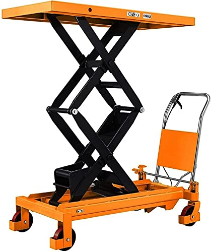 """T TORY CARRIER Manual Lift Tables, Material Handing Hydraulic Table Cart Double Scissor Lift 59.1""""Height"""