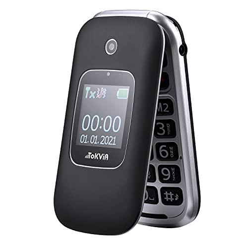 """TOKVIA T221 Téléphone Portable à Clapet Débloqué pour Seniors avec Grandes Touches, Touche d'assistance, Grand écran 2,4"""""""