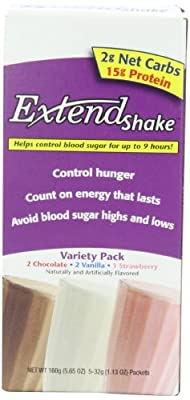 ExtendShake, 3-Flavor Variety Pack, 5-Count Servings