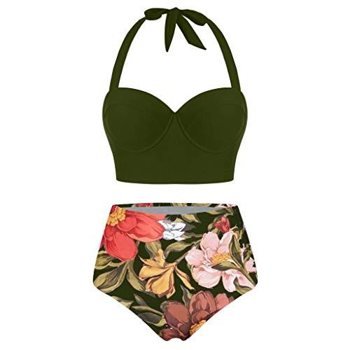 Lazzboy Bikini Set Frauen Blumendruck Crop Tops Mit Hoher Taille + Shorts Zweiteilige Badebekleidung Halfter Tankini Damen Retro Stil Badeanzug(Grün,L)