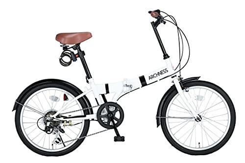 ARCHNESS 206-A 折りたたみ自転車 20インチ 6段変速 ワイヤー錠・LEDライト付 (ホワイト) [並行輸入品]