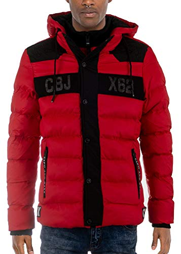 Cipo & Baxx Herren Winterjacke Steppjacke Übergangsjacke Kapuzenjacke Jacke Jacket Warm Jacke Rot L