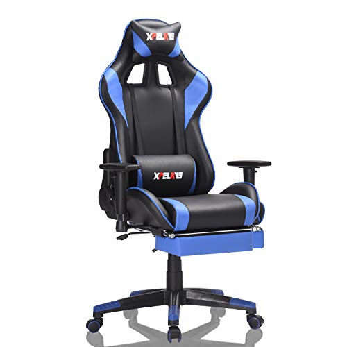 Gaming Chair Ergonomic Computer Desk Chair Adjustable Racing Style Office Chair High Back Swivel PU Leather Chair with Lumbar Headrest and Support (Blue-02)