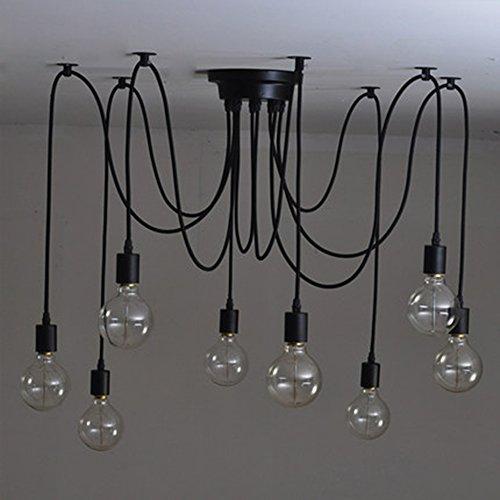 Éclairage de plafond Vintage Edison, Multiple Ajustable Bricolage araignée au plafond Lampe suspension Lustre moderne industriel chic salle à manger (8 câble tête 150cm / 50inch chacun)