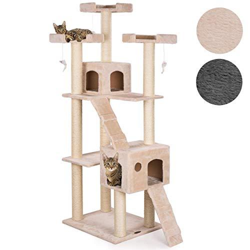 Happypet® Kratzbaum für Katzen groß CAT002 182 cm hoch, Kletterbaum Katzenbaum, Dicke Säulen mit Sisal ca. 8,5 cm, Haus, Höhle, Lauframpen, Aussichtsplattformen, Spielmaus, BEIGE
