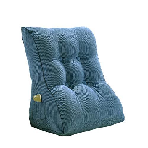 DUHUI Triángulo Cojín Cama Reposacabezas Cojín Cuello Cama Cama Respaldo Dormitorio Oficina Cintura Almohada Sofá Suave Tatami Cintura Almohada Extraíble Lavable (Color : Blue, Size : 45x55x30cm)