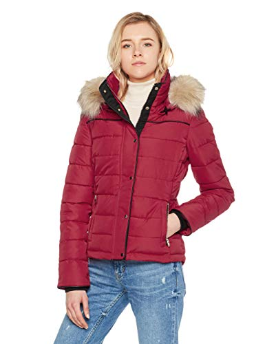 Royal Matrix Women's Short Coat Heavy Quilted Puffer Soft Fabric Outerwear with Removable Faux Fur (Wine, 2)