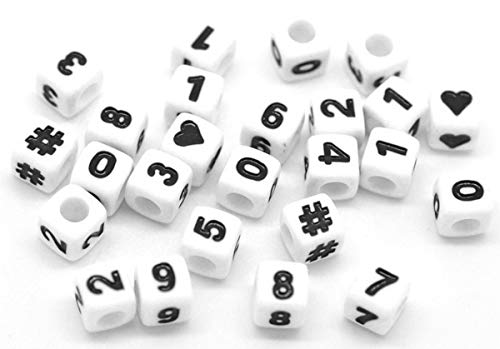 Sadingo Zahlenperlen Würfel, Zahlenwürfel Armband, Herzperlen, Hashtag Perlen - 300 Stück - 7 x 7 mm - Zufälliger Mix