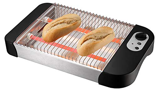 IKOHS Toast Flat Classic - Tostadora Plano Horizontal, 600 W, Bandeja Recogemigas, 6 Niveles de Potencia, Sistema de Seguridad, Guardacables, 2 Resistencias