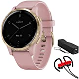 Garmin 010-02172-31 Vivoactive 4S Smartwatch, Dust Rose/Gold Bundle with Deco Gear Magnetic Wireless Sport Earbuds, Red with Carrying Case and Voltix 2600mAh Portable Power Bank