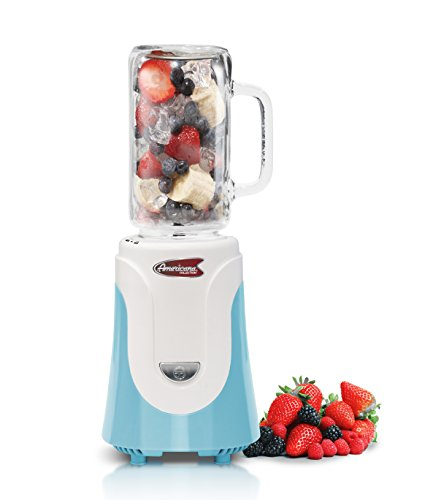 Americana EPB-6050BL Personal Blender with 20 oz Mason Jar, Blue