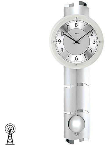 Hangklok AMS 5215 wandklok met slinger radiografisch wijzerplaat van aluminium mineraalglas