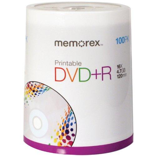 Memorex DVD plus R 16x 4.7GB 100 Pack Spindle Printable