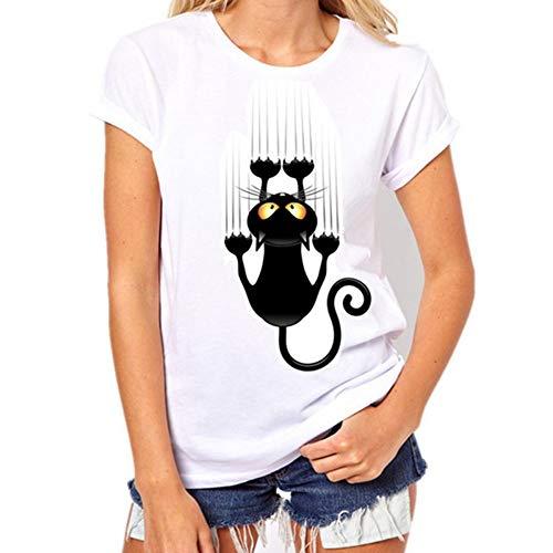 XIAOBAOZITXU Art en wijze brutale zwarte kat 3D T-shirt vrouwen aantrekkelijk shirt casual korte mouwen OANzet T-shirt Het T-shirt van de vrouwen (ongetrokken)