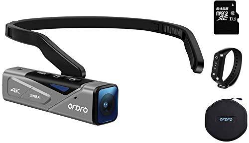 4K Camcorder Handsfree Videokamera ORDRO EP7 Camcorder 4K 30fps UHD FPV Vlog Kamera mit Gimbal Stabilizer Autofocus, Fernbedienung, 64GB MicroSD Karte