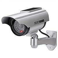 AlfaViewダミーカメラ ソーラーパネル搭載 防犯カメラ 赤LED常時点滅 防水 屋内外両用監視カメラ 半永久的に使用可能 赤外線型 1台/2台 (1個セット)