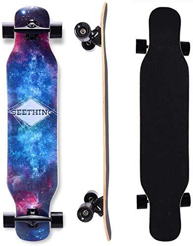 SXHYL 42in Mapate Longboard Skateboard Drop a través de un Crucero Completo de monopatín Concave Patinetas para Adultos Adolescentes