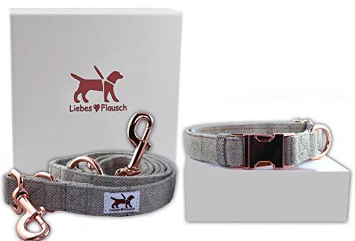Liebes-Flausch Hundeleine + Hundehalsband im Set | Elegant - Verstellbar - Trendy (28-40cm)