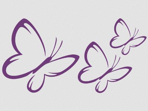 Wandbild Wandsticker Schmetterlinge 3 Stück Motiv 3-mittelgrau74