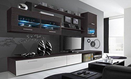 Home Innovation – Glanzlack Wohnwand, Wohnzimmer, Wohnzimmerschrank, Anbauwand, Esszimmer mit LEDs, Verarbeitung weiß lackiert und Wenge, Maße: 250 x 190 x 42 cm Tiefe