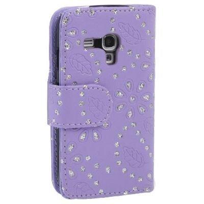 Unbekannt Etui de téléphone Portable Coque Samsung Galaxy S3 Mini i8190 Business Case Smartphone Case Strass Scintillants Clignotant Flip Brillant de Mode Chic Fleur Pourpre Motif Floral