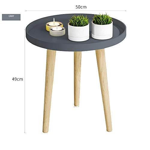 BinLZ-Table Kleiner Runder Tisch Couchtisch Nachttisch Ecktisch Sofa Beistelltisch Palettentisch Esstisch Optionale Farbe, Größe, Grau, 50 * 49 cm